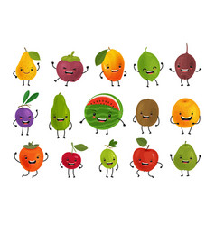 set of funny fruits fresh food concept cartoon vector image