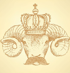 Sketch ram in crown with mustache vector image