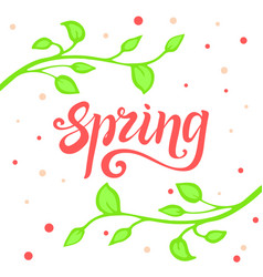 spring lettering bright spring with vector image