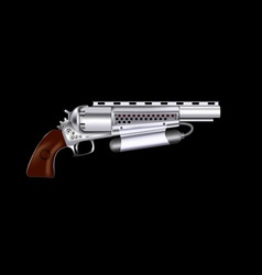 Steampunk revolver vector