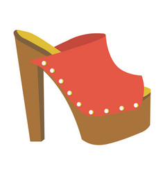 Stylish mule with heavy platform and high heel vector
