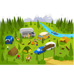 summer camping outdoor in nature people on vector image