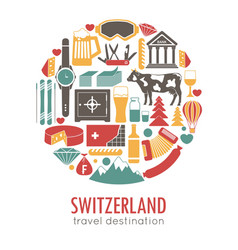 Switzerland sightseeing landmarks and famous vector