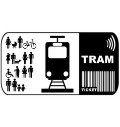 Tram ticket isolated on white background vector