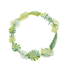 tropical flower circle greenery wreath vector image