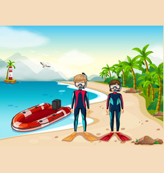 two scuba divers and boat in the sea vector image