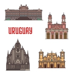 Uruguay architecture tourist attraction icons vector