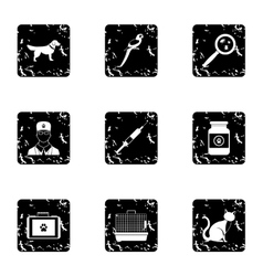 Veterinary icons set grunge style vector