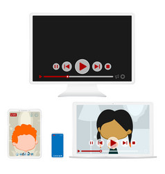 white digital gadgets video vector image
