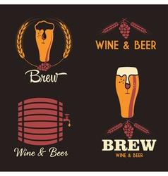 wine and beer vintage labels set vector image