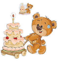 a brown teddy bear rolling vector image vector image