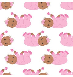 African American Baby Girl Seamless Pattern vector image vector image
