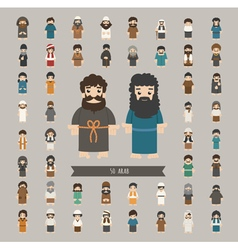 Set of arab characters poses eps10 format vector image vector image