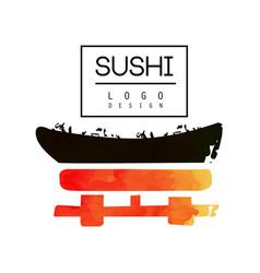 sushi logo design japanese food label watercolor vector image vector image