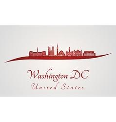 Washington DC V2 skyline in red vector image