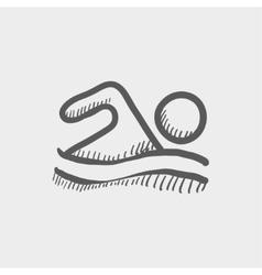 Beach wave swimming sketch icon vector image vector image