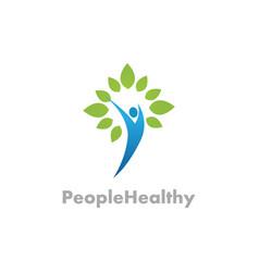 healthy people green logo vector image