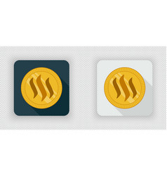 light and dark steem crypto currency icon vector image vector image
