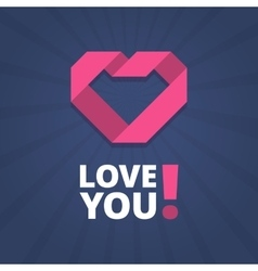 Love you card with heart sign vector image vector image