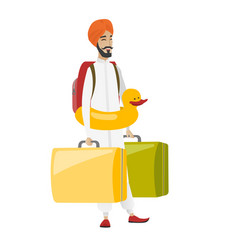 Cheerful traveler man in inflatable ring vector