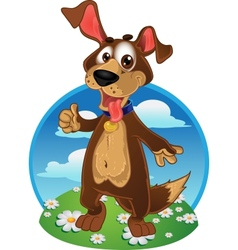 Fun dog on a color background vector image