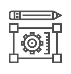 pensil with blueprint line icon vector image vector image