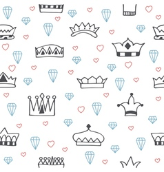Vintage seamless pattern with hand drawn crowns vector image