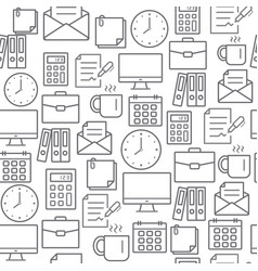 different line style icons seamless pattern office vector image