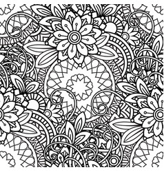 doodles floral seamless pattern vector image