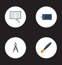 flat icons gadget compass brush and other vector image vector image