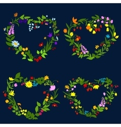 Floral hearts with flowers and herbs vector image vector image