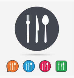 fork knife and spoon icons cutlery sign vector image