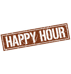Happy hour square grunge stamp vector