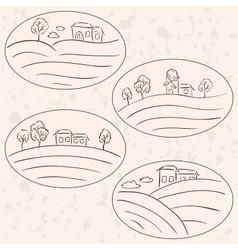 houses on hill landscape labels vector image