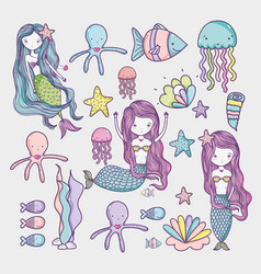 little mermaid and sea animals art cartoon vector image