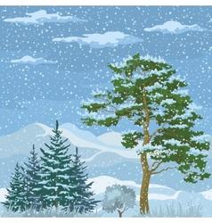Seamless Mountain Winter Landscape vector image vector image