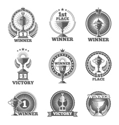 Victory trophies and awards logos badges vector image vector image