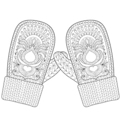 Winter warm knitted mittens in zentangle style vector image vector image