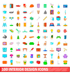 100 interior design icons set cartoon style vector