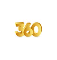 360 text 3 d number gold template design vector