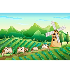 A farm with cows vector