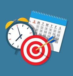 Alarm clock calendar target vector