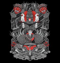 Amazing culture indonesia in vinta vector