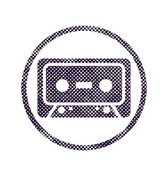 Audio cassette icon with halftone dots print vector