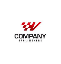 Auto speed letter v logo template vector