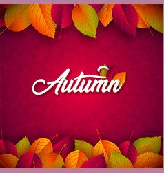 autumn with falling leaves and vector image