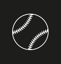 Baseball line art icon on black background vector