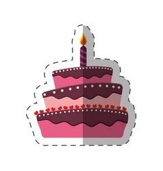 birthday cake sweet candle dessert vector image