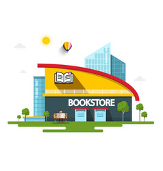 bookstore building with book symbol on facade vector image