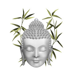 Buddha face with green bamboo t-shirt and tattoo vector